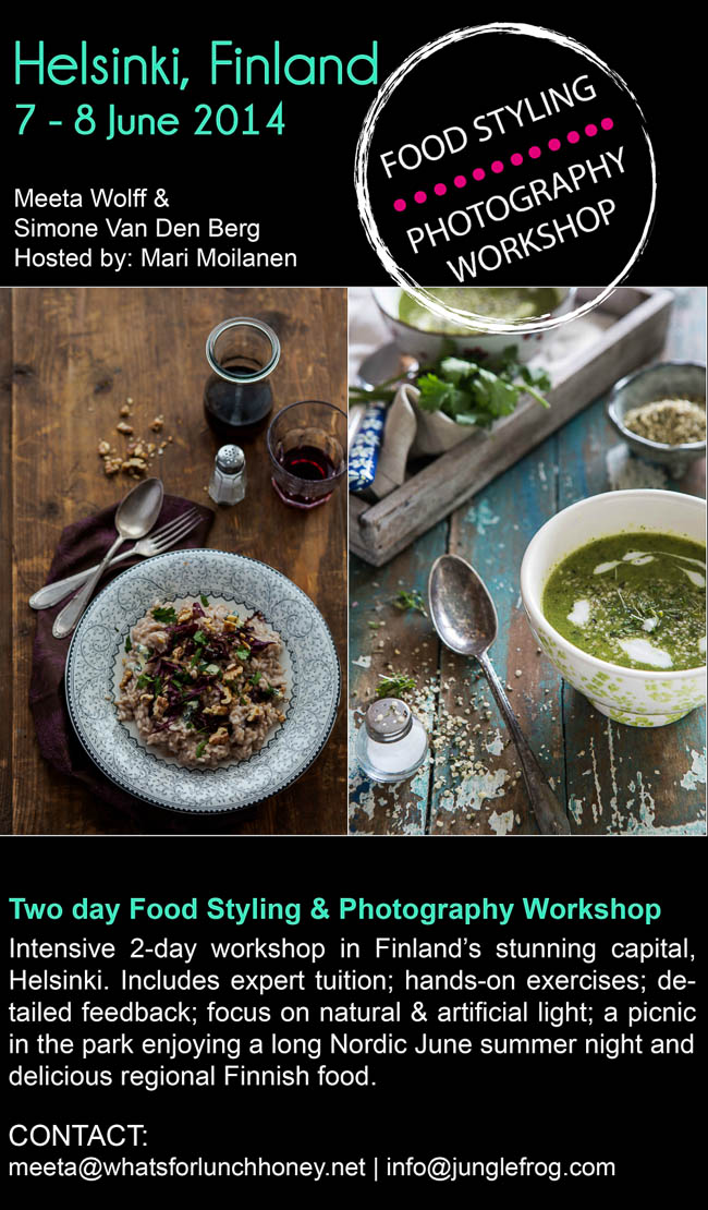 Workshop foodphotography- and styling in Helsinki 7-8 juni